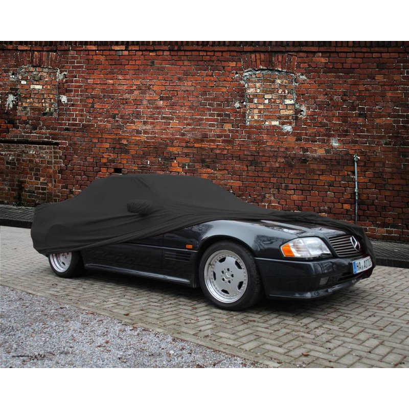 car cover satin black mit spiegeltasche f r mercedes sl. Black Bedroom Furniture Sets. Home Design Ideas
